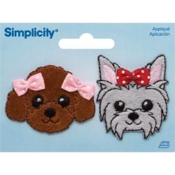 Puppies W/Bows Iron On Applique - 1-1/2 X2 2/Pkg