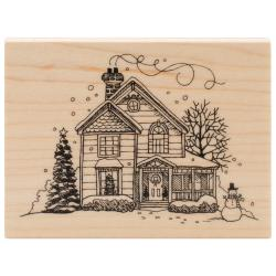 Inkadinkado Christmas Mounted Rubber Stamp 2.25 X3 - Holiday House