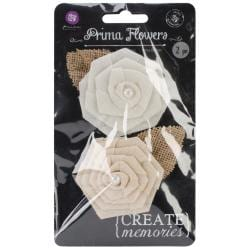 La Tela Canvas & Burlap Flowers - 2.5 2/Pkg