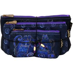 Cosmetic Bag Set Of Three - Indigo Cats