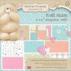 Forever Friends Kraft Notes Designstax 6 X6 48/Sheets - 16 Double-Sided Designs/3 Each, 200gsm