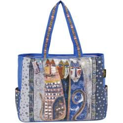 Shoulder Tote Zipper Top 21 X6-1/2 X15 - Autumn Felines