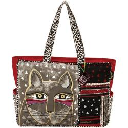 Oversized Tote Zipper Top 22-1/2 X5-1/2 X15-1/4 - Whiskered Cat