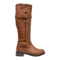 Women's Wild Diva Moto-5 Brown Faux Leather