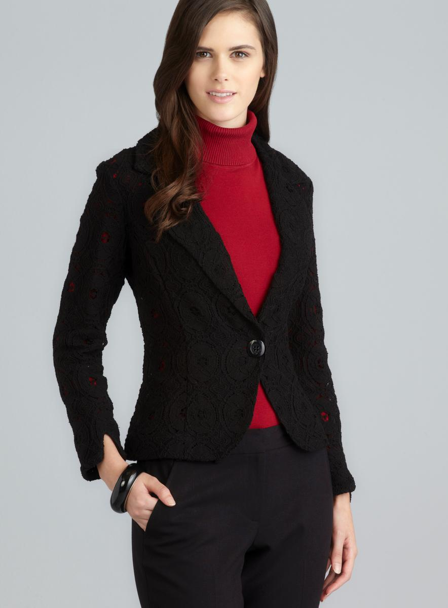 For Cynthia Black One Button Notched Lapel Lace Jacket