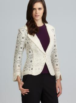 For Cynthia Cream One Button Notched Lapel Lace Jacket