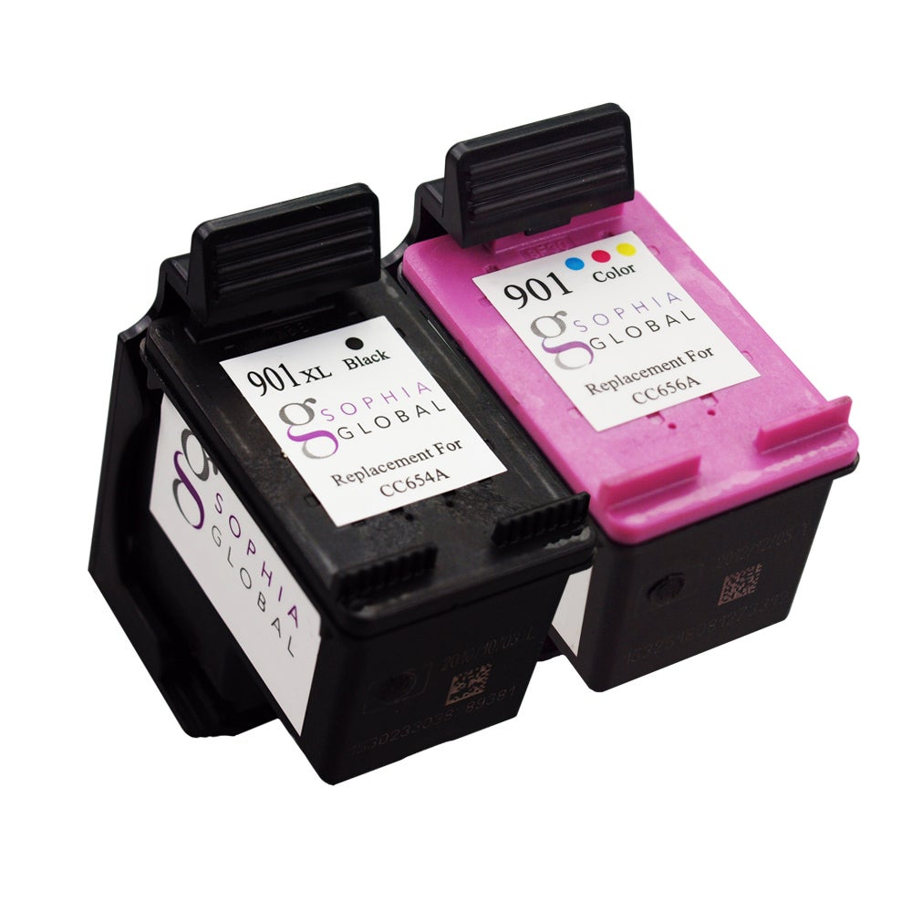 Sophia Global Remanufactured Ink Cartridge Replacement for HP 901XL and HP 901 (1 Black, 1 Color)