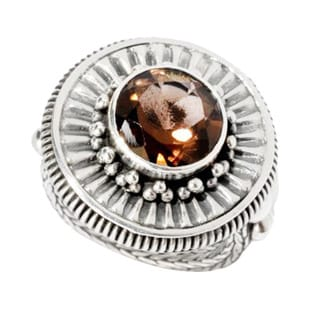 Samuel B. Sterling Silver Smokey Quartz Oxidized Round Ring