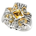 Neda Behnam Samuel B. Sterling Silver and 18k Yellow Gold Citrine Center Cross Ring