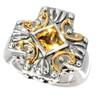 Neda Behnam Samuel B. Sterling Silver and 18k Yellow Gold Citrine Center Cross Ring