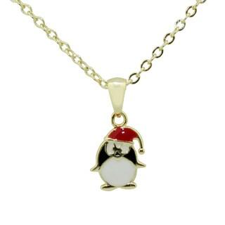 Junior Jewels Gold Overlay Children's Christmas Penguin Necklace