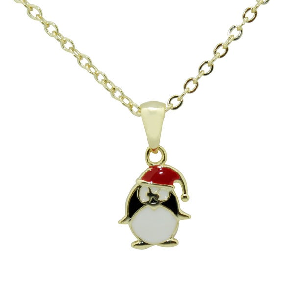 Junior Jewels Gold Overlay Children's Christmas Penguin Necklace