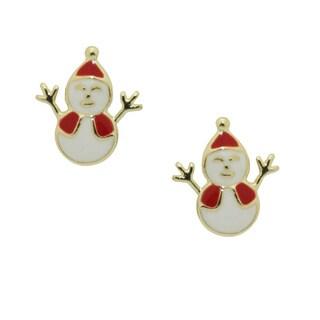 Junior Jewels Gold Overlay Children's Jolly Snowman Stud Earrings