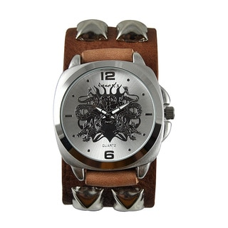 Nemesis Men's 'Dragon King of Skull' Leather Band Watch
