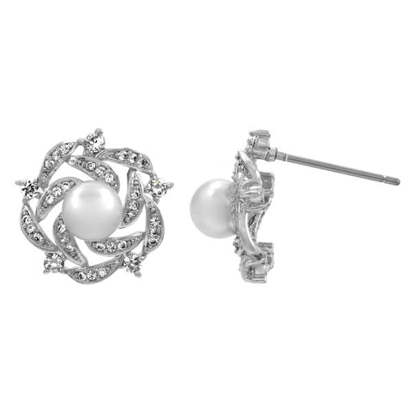 Silvertone White Pearl and Cubic Zirconia Stud Earrings (6-7 mm)