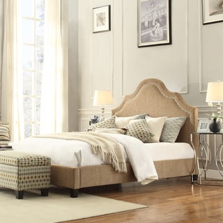 INSPIRE Q Fletcher Tan Chenille Nailhead Arch Curved Upholstered King-sized Bed