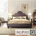 INSPIRE Q Fletcher King-size Dark Grey Chenille Nailhead Arch Curved Upholstered Bed