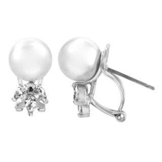 Silvertone Freshwater Pearl and Cubic Zirconia Stud Earrings (6-7 mm)
