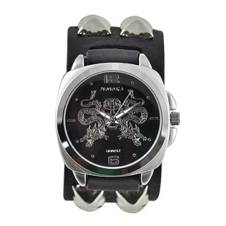 Nemesis Men's 'Dragon Skull' Black Leather Band Watch