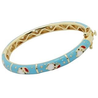 Junior Jewels 18k Gold Overlay Children's Enamel Snowman Bangle