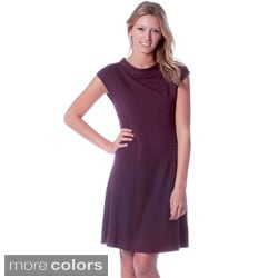 AtoZ Women's Solid Cowl Neck Dress