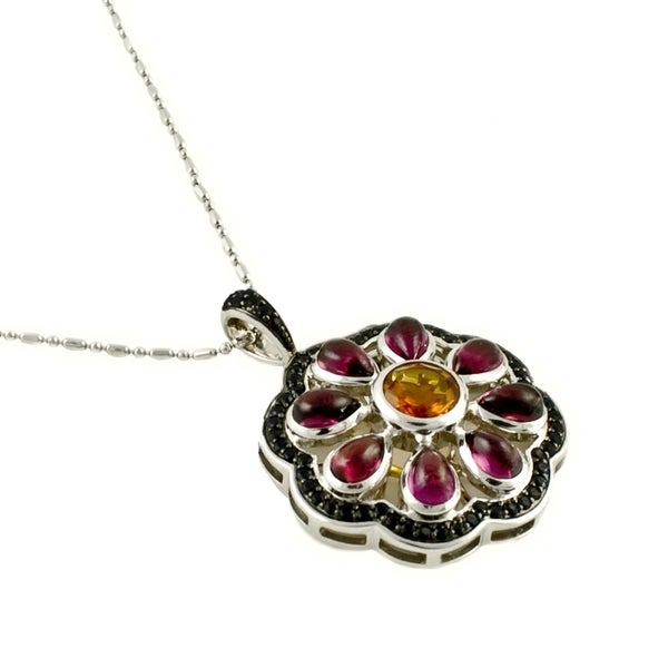 Sterling Silver Multi-stone Flower Necklace