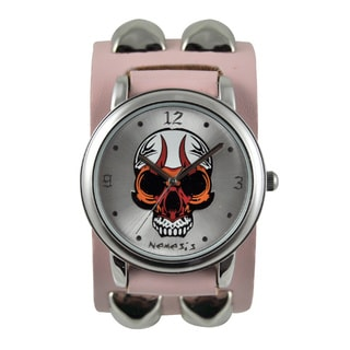 Nemesis Women's 'Flaming Skull' Leather Strap Watch