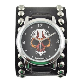 Nemesis Men's Skull Dial Studded Band Watch