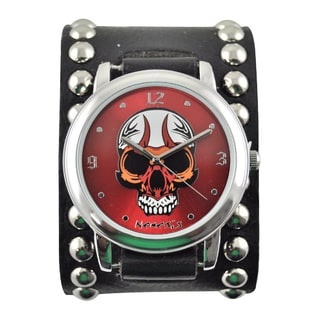Nemesis Men's Skull Dial Leather Band Watch