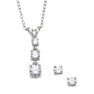 Sunstone Sterling Silver Journey Pendant Earring Set Made with Swarovski Zirconia