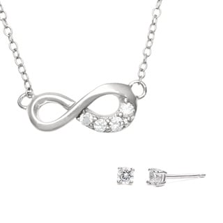 Sunstone Sterling Silver Infinity Jewelry Set made with Swarovski Zirconia with Gift Box