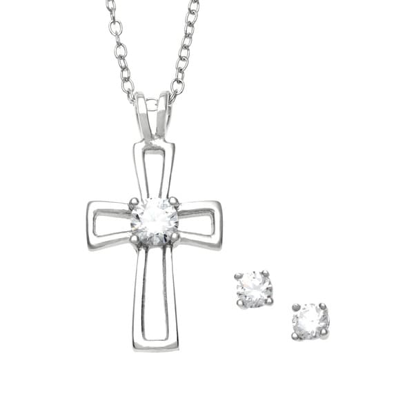 Sunstone Sterling Silver Cross Jewelry Set made with Swarovski Zirconia with Gift Box