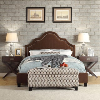 Esmeral King-size Chocolate Chenille Nailhead Arch Curved Upholstered Bed