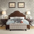 Inspire Q Esmeral King-size Chocolate Chenille Nailhead Arch Curved Upholstered Bed