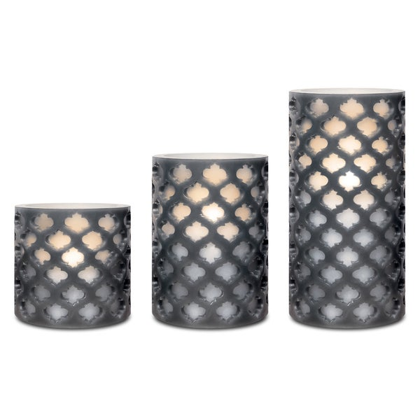 Sarah Peyton 3-piece LED Lattice Candle Set