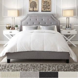 INSPIRE Q Grace White Linen Arched Bridge Top Bed