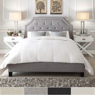 Esmeral White Linen Arched Bridge Top Bed