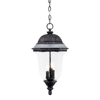 Venice Collection Hanging Lantern 3-light Outdoor Stone Light Fixture with Glass Shade