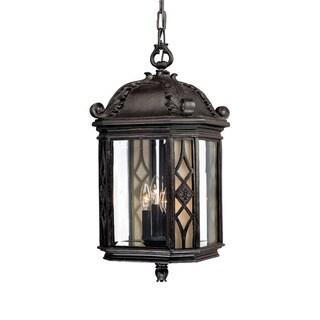 Hanging Lantern 4-light Outdoor Marbleized Mahogany Light Fixture