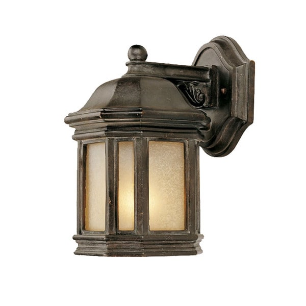 Wall-mount 1-light Outdoor Marbleized Mahogany Light Fixture with Line Switch
