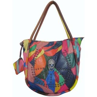 Amerileather Skull Leather Tote Bag