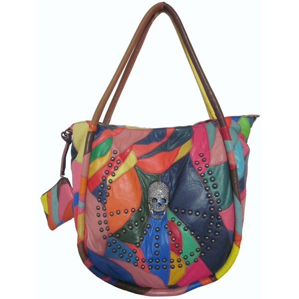 Amerileather Skull Leather Tote Bag