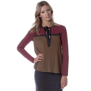 AtoZ Women's Colorblocked Keyhole Neck Top