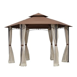 International Caravan St. Kitts 11x10 Double-vented Hexagonal Gazebo with Drapes