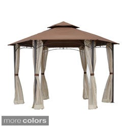 International Caravan St. Kitts 10x8.5-foot Aluminum/ Polyester Fabric Double-vented Hexagonal Gazebo with Drapes
