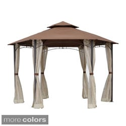 International Caravan St. Kitts 10-foot Aluminum/ Polyester Fabric Double-vented Hexagonal Gazebo with Drapes