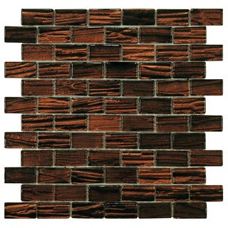SomerTile 12.25-inch Arbor Subway Mahogany Glass Mosaic Tile (Pack of 10)
