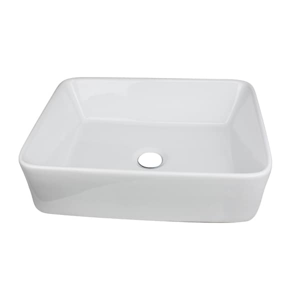 19-inch White Rectangular Bathroom Vessel Sink with No Overflow
