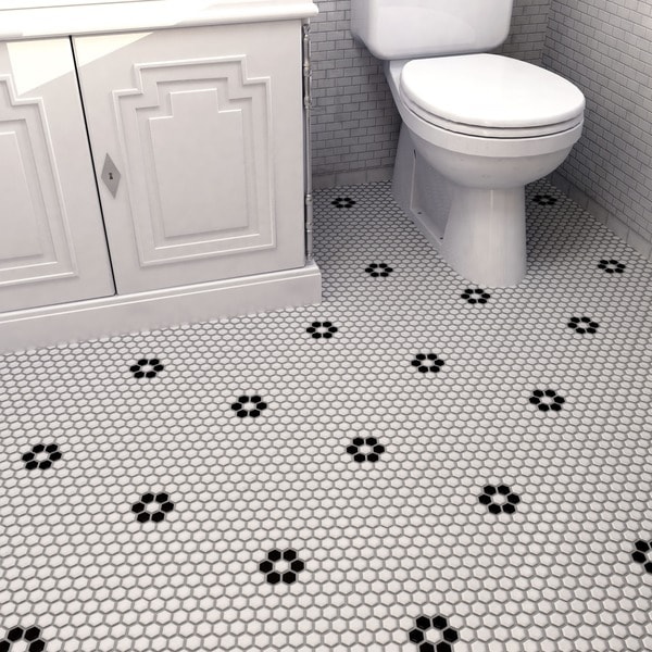Somertile victorian hex matte white with for 10 inch floor tiles