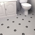 SomerTile 10.25 x 11.75-inch Victorian Hex 1-inch Matte White with Flower Porcelain Mosaic Tile (Pack of 10)